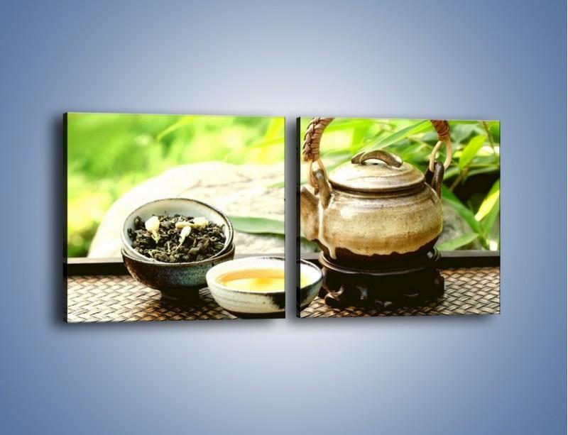 Obraz na płótnie – Herbata na świeżym powietrzu – dwuczęściowy kwadratowy poziomy JN249