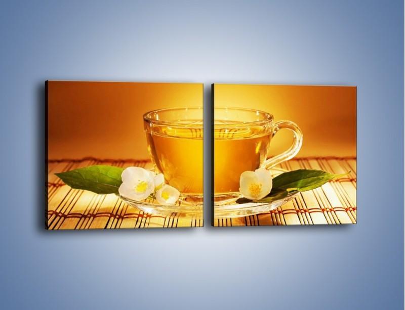 Obraz na płótnie – Delikatny smak herbaty – dwuczęściowy kwadratowy poziomy JN261
