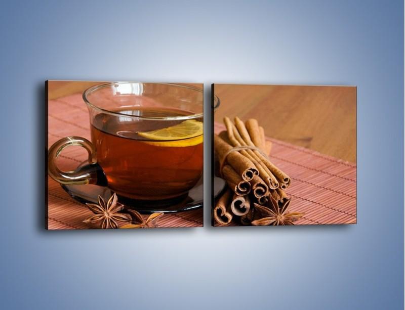 Obraz na płótnie – Rozgrzewająca filiżanka herbaty – dwuczęściowy kwadratowy poziomy JN266