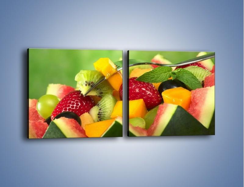 Obraz na płótnie – Arbuzowa misa z owocami – dwuczęściowy kwadratowy poziomy JN274