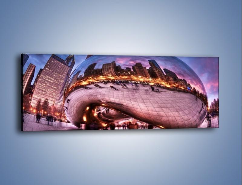 Obraz na płótnie – Cloud Gate w Chicago – jednoczęściowy panoramiczny AM352