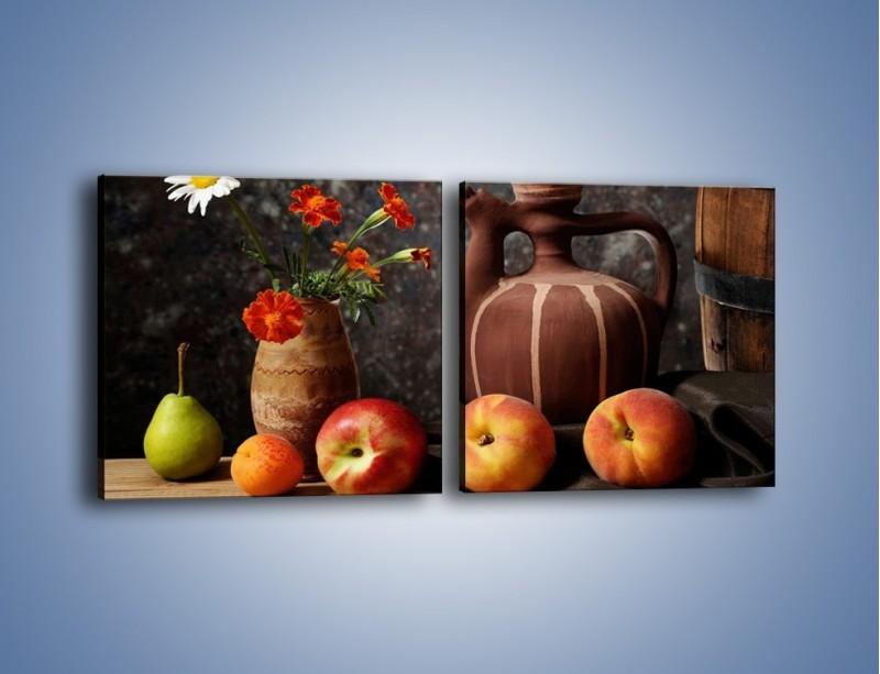 Obraz na płótnie – Kwiaty wśród owoców – dwuczęściowy kwadratowy poziomy JN280