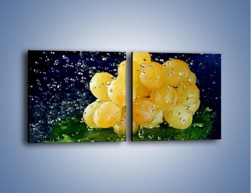 Obraz na płótnie – Słodkie winogrona z miętą – dwuczęściowy kwadratowy poziomy JN286