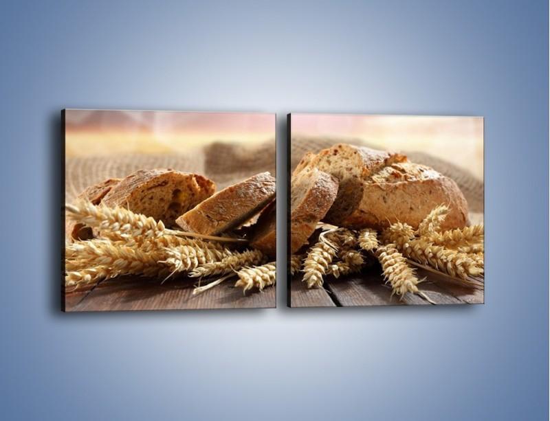 Obraz na płótnie – Świeży pszenny chleb – dwuczęściowy kwadratowy poziomy JN287