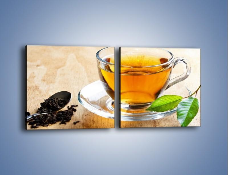 Obraz na płótnie – Listek mięty dla orzeźwienia herbaty – dwuczęściowy kwadratowy poziomy JN290
