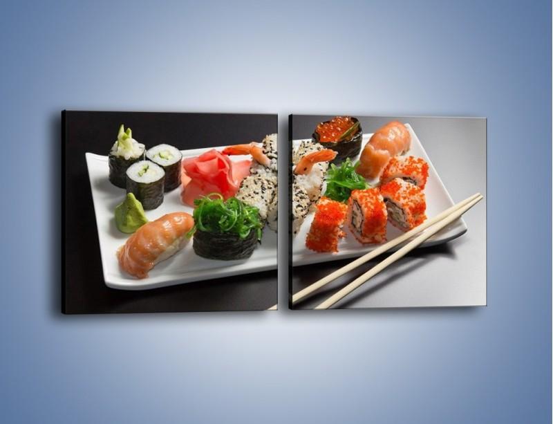 Obraz na płótnie – Kuchnia azjatycka na półmisku – dwuczęściowy kwadratowy poziomy JN295