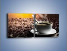 Obraz na płótnie – Aromatyczna filiżanka kawy – dwuczęściowy kwadratowy poziomy JN298