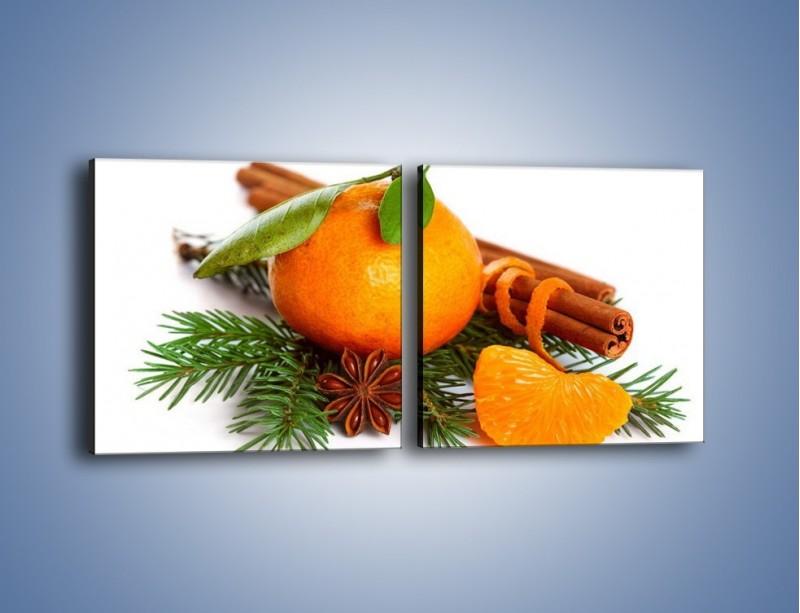 Obraz na płótnie – Pomarańcza na święta – dwuczęściowy kwadratowy poziomy JN306