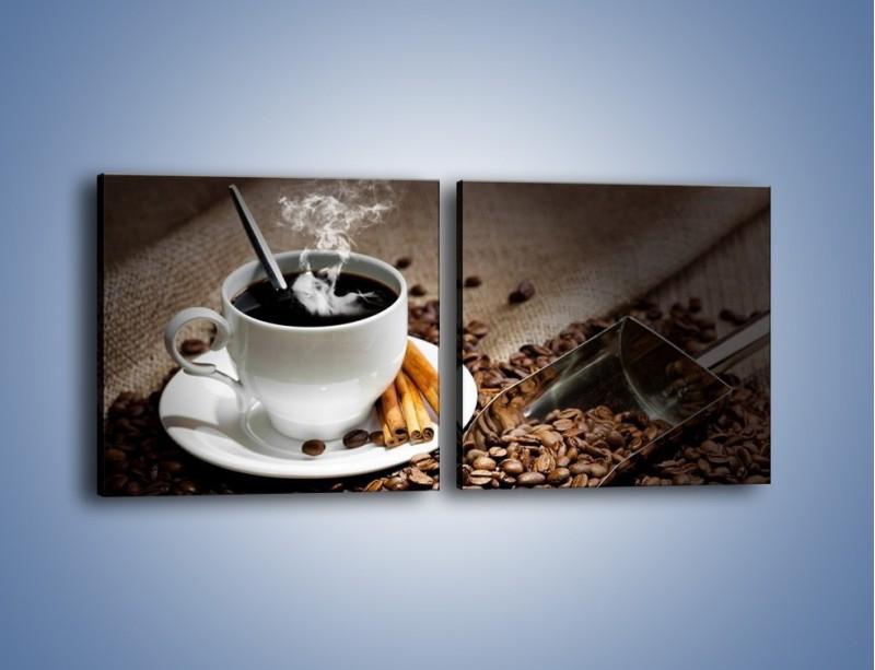 Obraz na płótnie – Czarna palona kawa – dwuczęściowy kwadratowy poziomy JN311