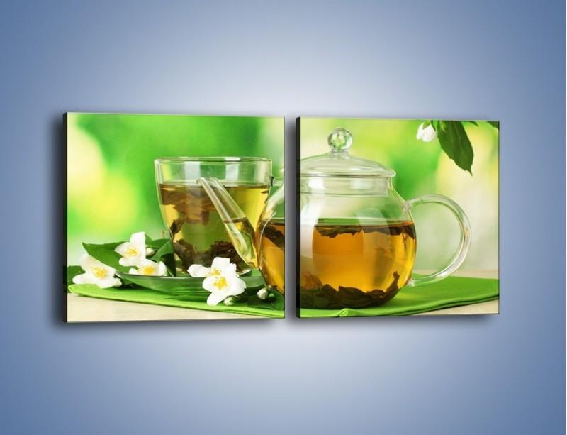 Obraz na płótnie – Herbaciane ukojenie – dwuczęściowy kwadratowy poziomy JN316