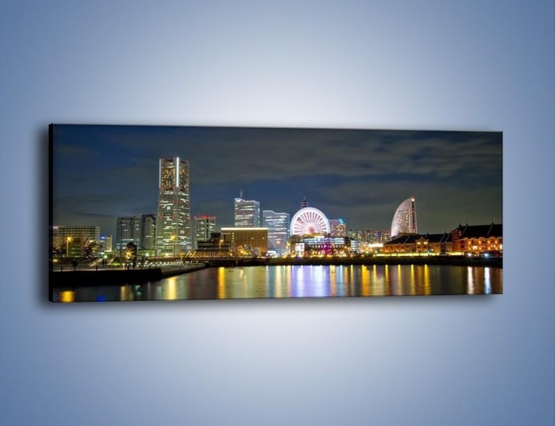 Obraz na płótnie – Yokohama nocą – jednoczęściowy panoramiczny AM353