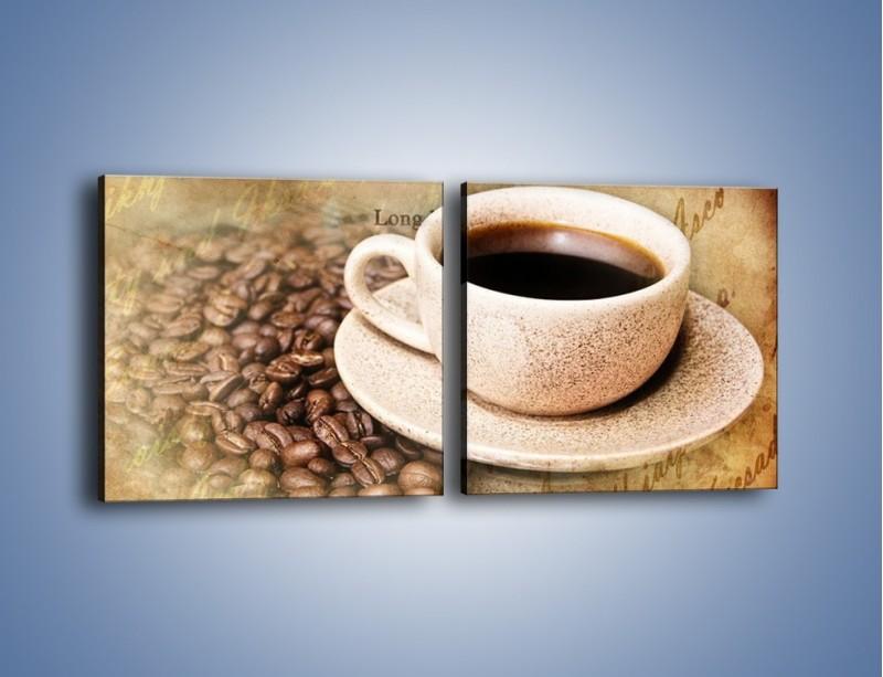 Obraz na płótnie – List przy filiżance kawy – dwuczęściowy kwadratowy poziomy JN347