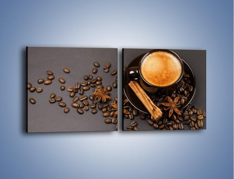 Obraz na płótnie – Kawa z goździkiem – dwuczęściowy kwadratowy poziomy JN349