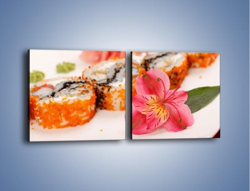 Obraz na płótnie – Sushi z kwiatem – dwuczęściowy kwadratowy poziomy JN354