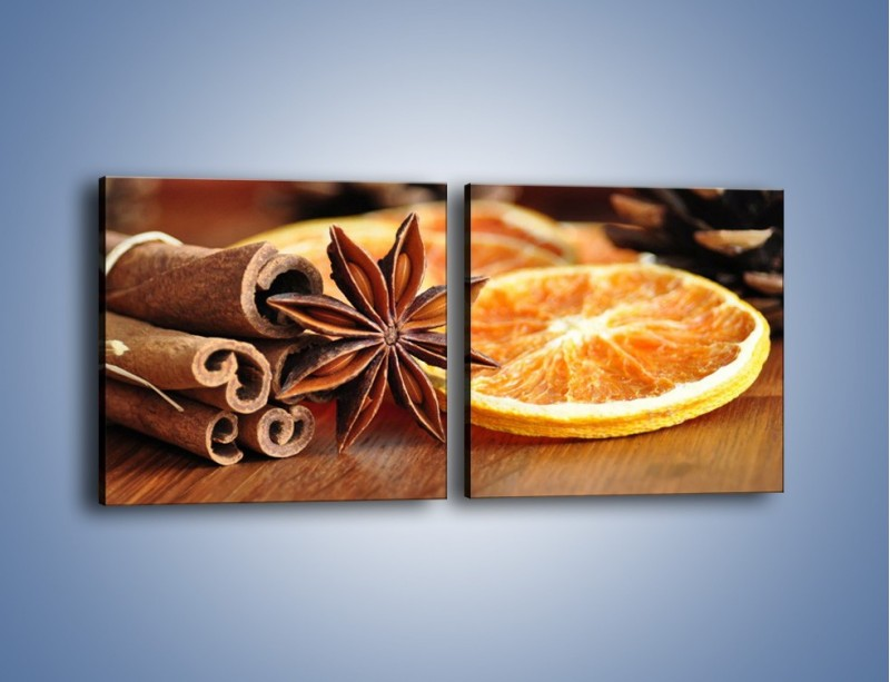 Obraz na płótnie – Pomarańcza z dodatkami – dwuczęściowy kwadratowy poziomy JN357