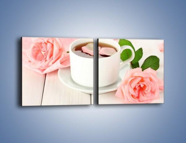 Obraz na płótnie – Herbata wśród róż – dwuczęściowy kwadratowy poziomy JN369