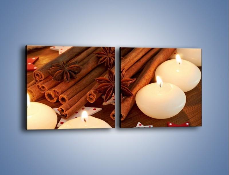 Obraz na płótnie – Cynamonowe szaleństwa przy świecach – dwuczęściowy kwadratowy poziomy JN371
