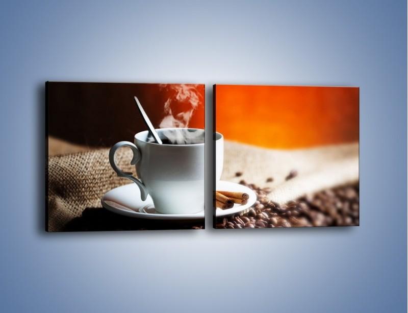 Obraz na płótnie – Aromatyczny zapach kawy – dwuczęściowy kwadratowy poziomy JN374