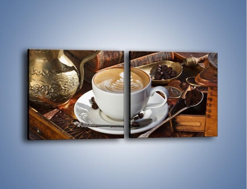 Obraz na płótnie – Wspomnienie przy kawie – dwuczęściowy kwadratowy poziomy JN377