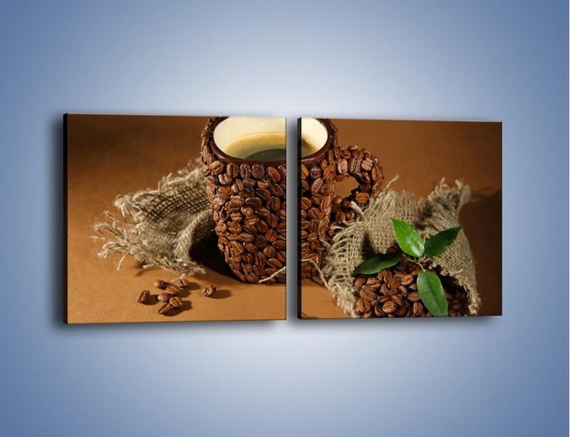 Obraz na płótnie – Kubek z ziarnami kawy – dwuczęściowy kwadratowy poziomy JN388