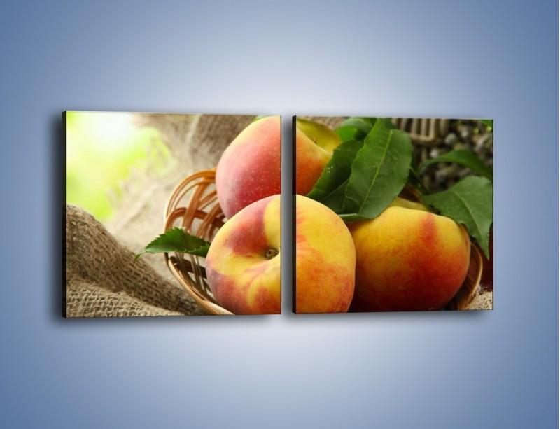 Obraz na płótnie – Dojrzałe jabłka w koszu – dwuczęściowy kwadratowy poziomy JN390