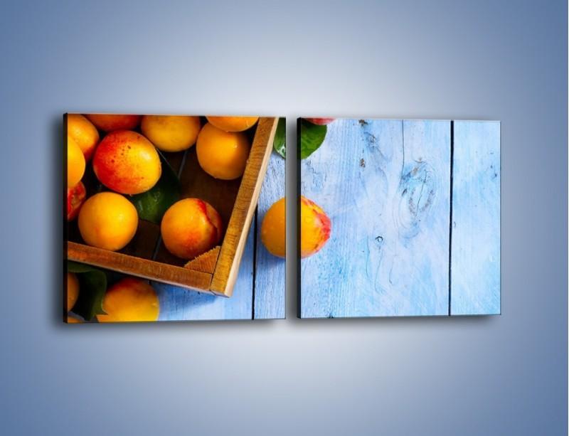 Obraz na płótnie – Brzoskwinie w drewnianej skrzyni – dwuczęściowy kwadratowy poziomy JN404