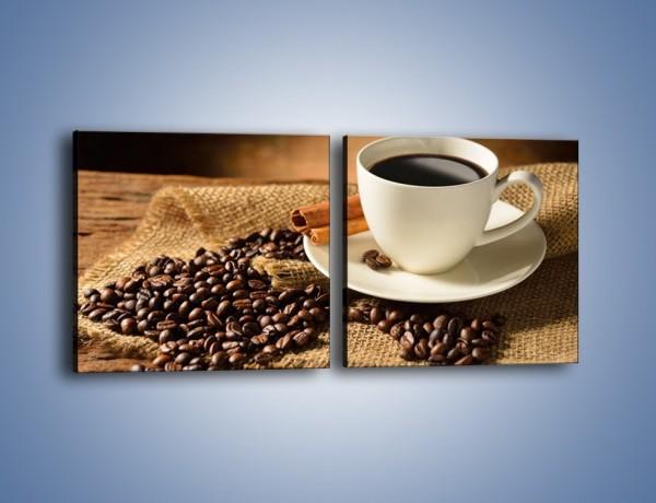 Obraz na płótnie – Kawa w białej filiżance – dwuczęściowy kwadratowy poziomy JN406