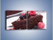 Obraz na płótnie – Czekoladowe brownie z owocami – dwuczęściowy kwadratowy poziomy JN408