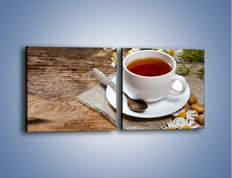 Obraz na płótnie – Herbata wśród stokrotek – dwuczęściowy kwadratowy poziomy JN413