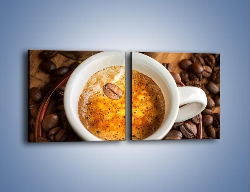 Obraz na płótnie – Ziarna zatopione w kawie – dwuczęściowy kwadratowy poziomy JN416