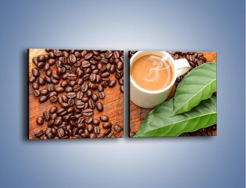 Obraz na płótnie – Ziarna kawy pod liściem – dwuczęściowy kwadratowy poziomy JN417