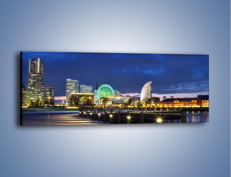 Obraz na płótnie – Rozświetlona Yokohama w nocy – jednoczęściowy panoramiczny AM355