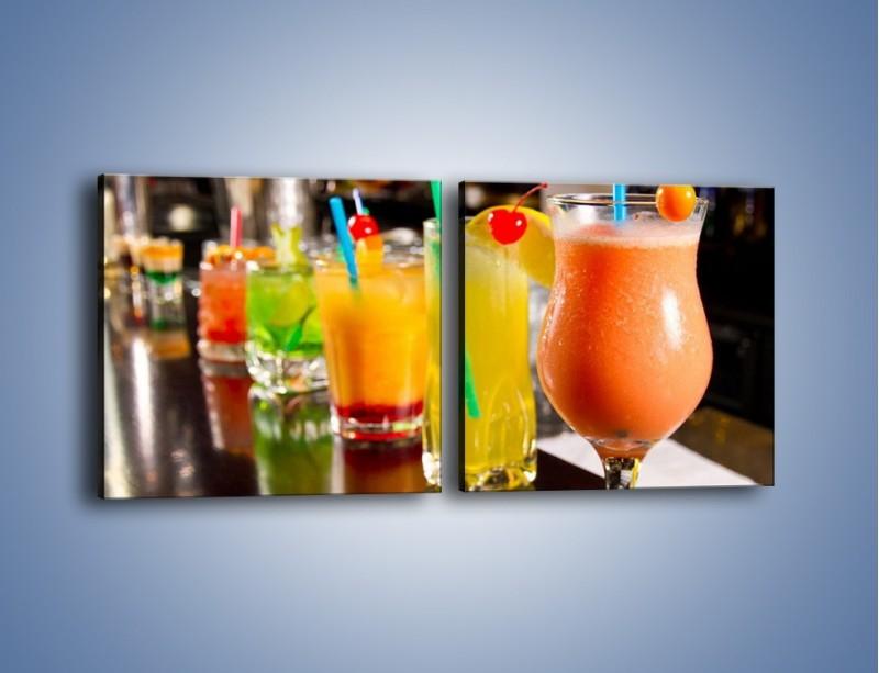 Obraz na płótnie – Barmańskie drinki – dwuczęściowy kwadratowy poziomy JN433