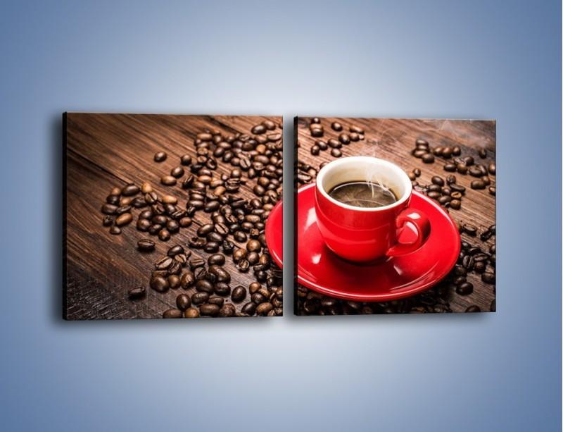Obraz na płótnie – Kawa w czerwonej filiżance – dwuczęściowy kwadratowy poziomy JN441