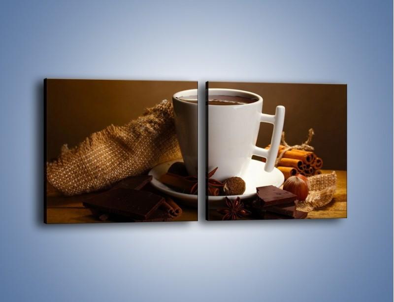 Obraz na płótnie – Gorąca czekolada z dodatkami – dwuczęściowy kwadratowy poziomy JN452
