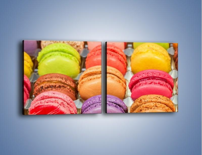 Obraz na płótnie – Słodkie babeczki w kolorach tęczy – dwuczęściowy kwadratowy poziomy JN458