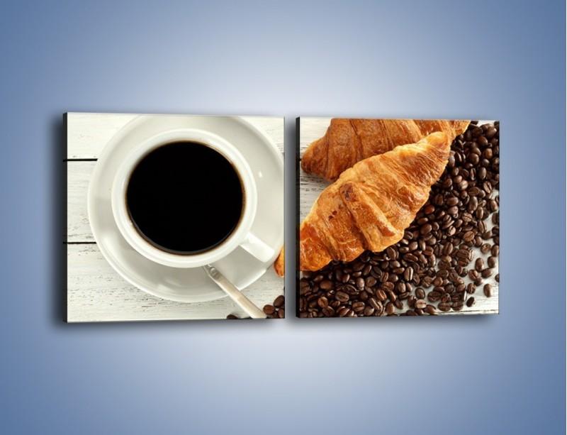 Obraz na płótnie – Kawa na białym stole – dwuczęściowy kwadratowy poziomy JN462