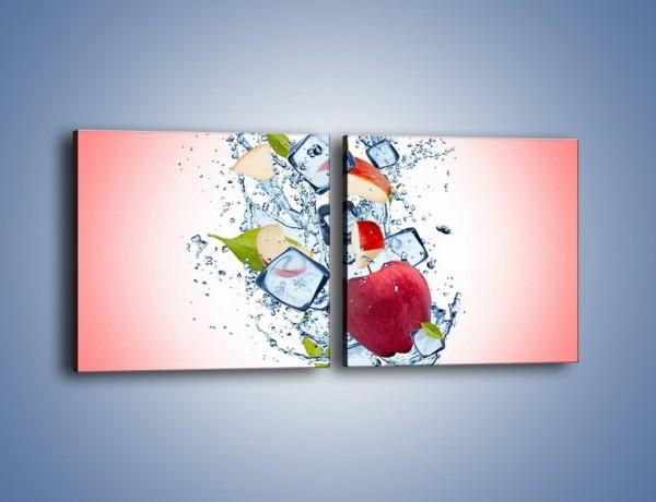 Obraz na płótnie – Jabłkowe trio w powietrzu – dwuczęściowy kwadratowy poziomy JN500