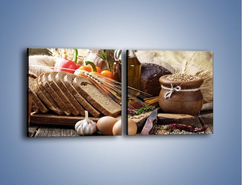 Obraz na płótnie – Chleb w roli głównej – dwuczęściowy kwadratowy poziomy JN501