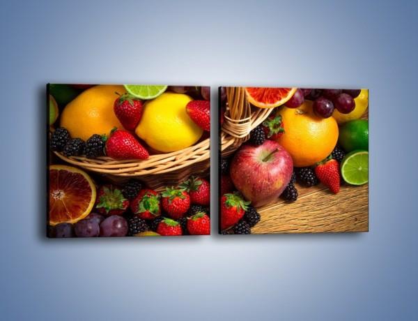 Obraz na płótnie – Kosz zatopiony w owocach – dwuczęściowy kwadratowy poziomy JN635