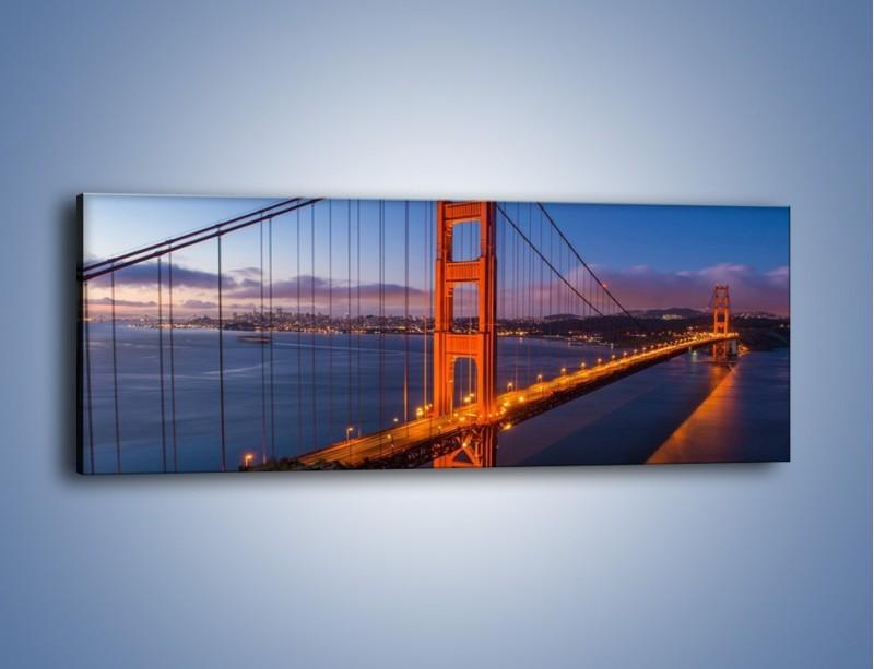 Obraz na płótnie – Rozświetlony most Golden Gate – jednoczęściowy panoramiczny AM360