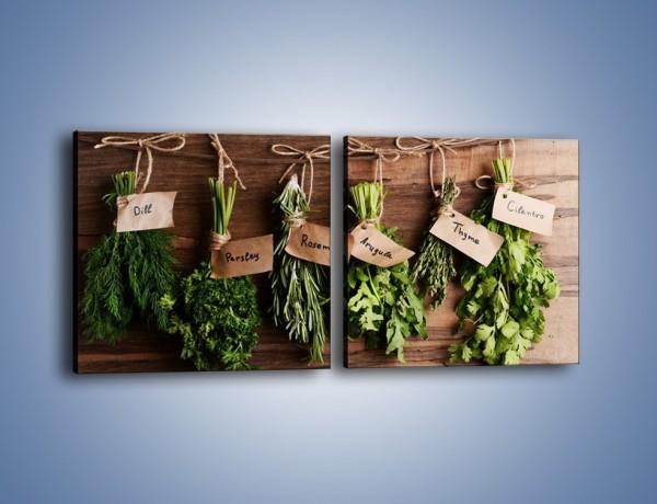 Obraz na płótnie – Świeże zioła w kuchni – dwuczęściowy kwadratowy poziomy JN638