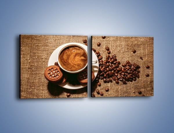 Obraz na płótnie – Kawowe słodkości na deser – dwuczęściowy kwadratowy poziomy JN676