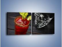 Obraz na płótnie – Czerwony drink z selerem – dwuczęściowy kwadratowy poziomy JN751