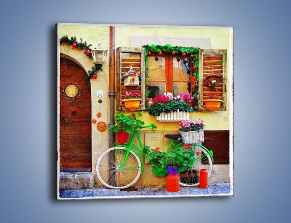 Obraz na płótnie – Front domku we włoskim miasteczku – jednoczęściowy kwadratowy AM680