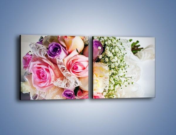 Obraz na płótnie – Wiązanka ślubna z róż – dwuczęściowy kwadratowy poziomy K022