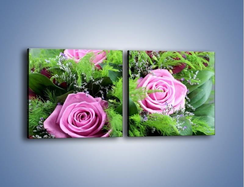 Obraz na płótnie – Bukiet róż wypełniony trawką – dwuczęściowy kwadratowy poziomy K068