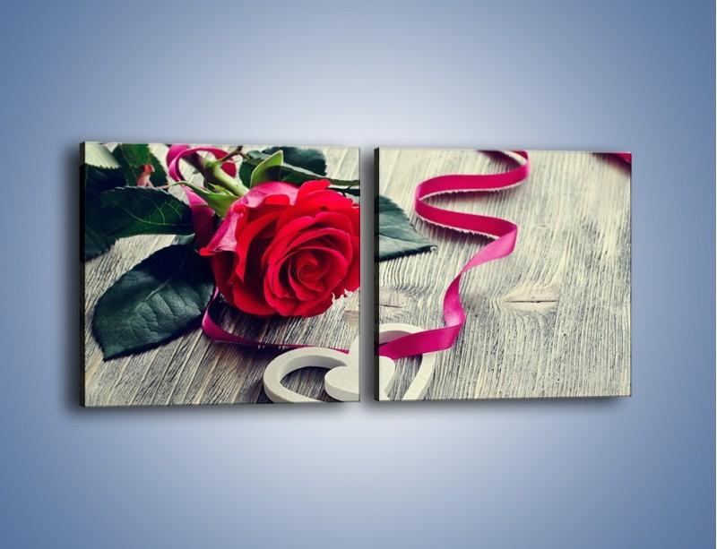 Obraz na płótnie – Od serca aż po różę – dwuczęściowy kwadratowy poziomy K1013