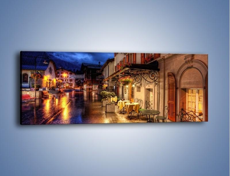 Obraz na płótnie – Romantyczne miasteczko pod Alpami – jednoczęściowy panoramiczny AM368