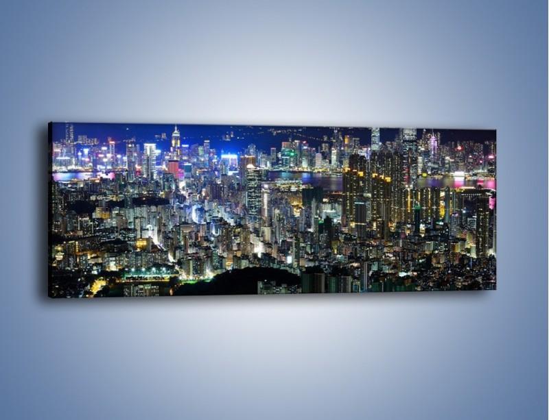 Obraz na płótnie – Drapacze chmur w Hong Kongu – jednoczęściowy panoramiczny AM369